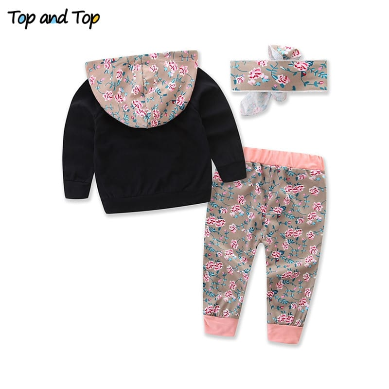 Baby Girls Floral Clothing Sets Long Sleeved Sweatshirts Tops Trousers Pants Headband 3Pcs 1