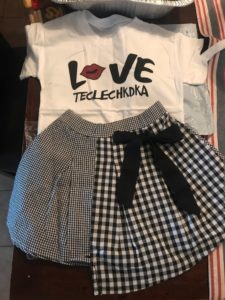 Girls Sets 2019 Girls Letter Printed T-Shirt & Bow Lattice Skirt photo review