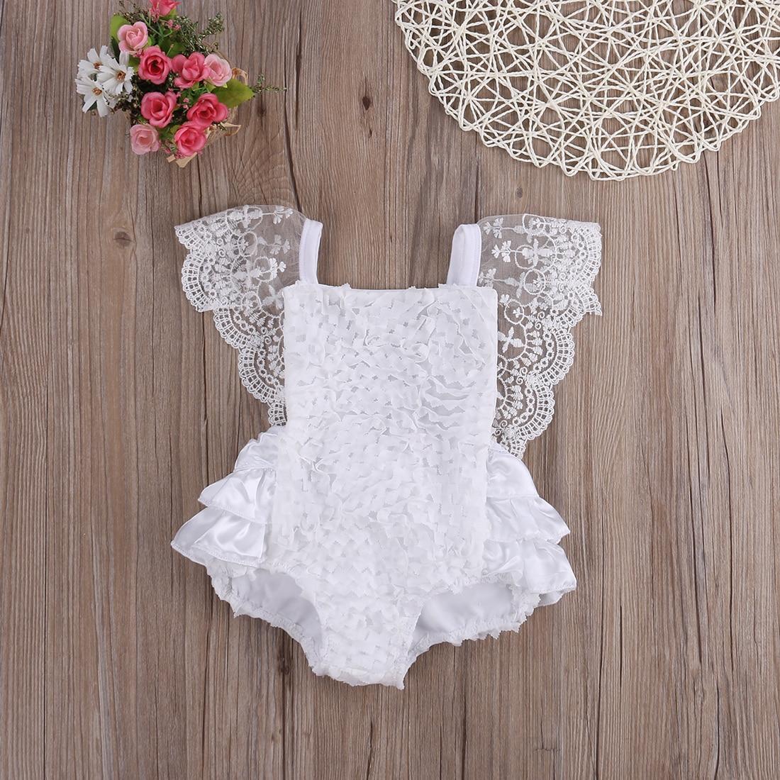 bad4a53033e0 2018 Multitrust Brand Cute Newborn Infant Baby Girl Clothes Lace Tutu Romper  Sleeveless Cake Sunsuit White