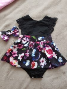 Baby Infant Girl Romper Headband Floral Outfits Party Dress photo review