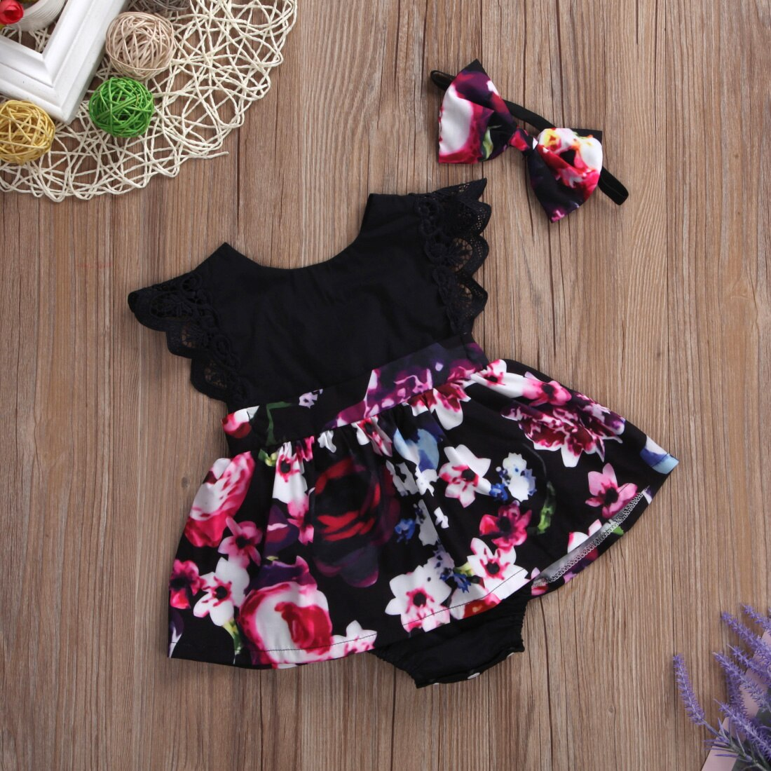 2018 FOCUSNORM Newborn Baby Infant Girl Romper Tutu Dress Headband Floral Outfits Party Dress 3